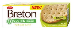 Breton Herb and Garlic Gluten-Free Crackers with GFCP & NFCA Certification Seal